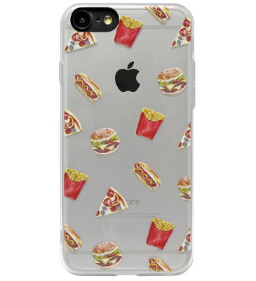ADEL Siliconen Back Cover Softcase Hoesje voor iPhone 8/ 7 - Junkfood Pizza Patat Hotdog Hamburger