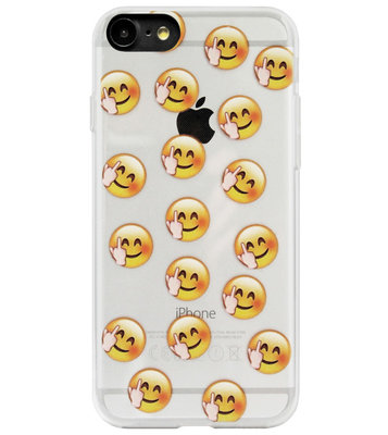 ADEL Siliconen Back Cover Softcase Hoesje voor iPhone 8/ 7 - Smileys Emoticons