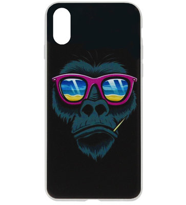ADEL Siliconen Back Cover Softcase Hoesje voor iPhone XS/ X - Apen Gorilla