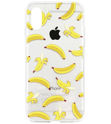 ADEL Siliconen Back Cover Softcase Hoesje voor iPhone XS/ X - Bananen