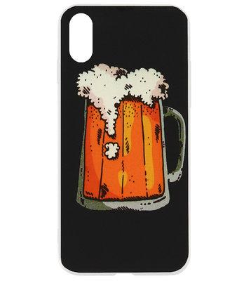 ADEL Siliconen Back Cover Softcase Hoesje voor iPhone XS/ X - Bier Pils