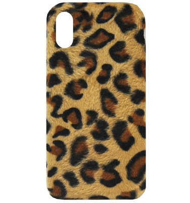 ADEL Siliconen Back Cover Softcase Hoesje voor iPhone XS/ X - Luipaard Zachte Pluche Stof Design
