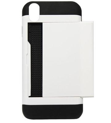 ADEL Kunststof Back Cover Hardcase Hoesje voor iPhone XS/ X - Pasjeshouder Wit