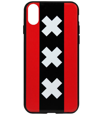 ADEL Siliconen Back Cover Softcase Hoesje voor iPhone XS/ X - Amsterdam Andreaskruisen