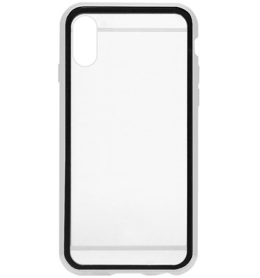 ADEL Magnetisch Kunststof 360 graden Full Body Cover Hoesje voor iPhone XS/ X - Zilver