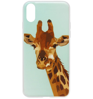 ADEL Siliconen Back Cover Softcase Hoesje voor iPhone XS/ X - Giraf