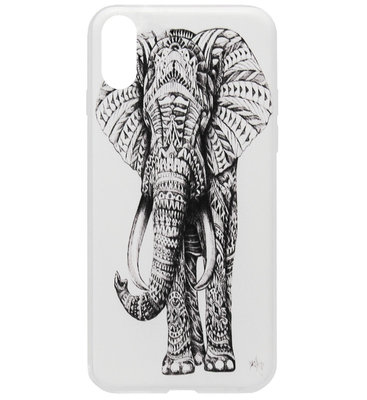 ADEL Siliconen Back Cover Softcase Hoesje voor iPhone XS/ X - Olifant Wit