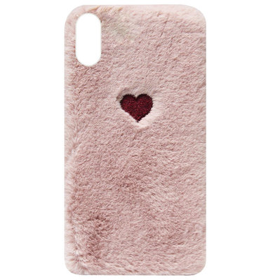 ADEL Siliconen Back Cover Softcase Hoesje voor iPhone XS/ X - Hartjes Fluffy Pluche Zachte Stof