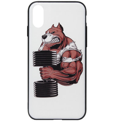 ADEL Siliconen Back Cover Softcase Hoesje voor iPhone XS/ X - Fitness Sport Bodybuilder Beer