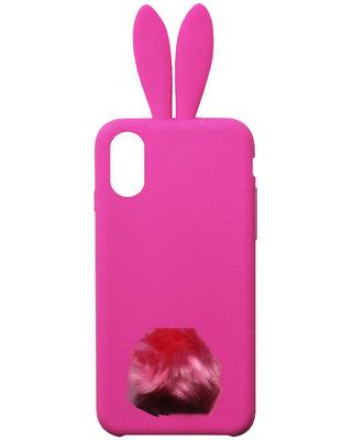 ADEL Siliconen Back Cover Softcase Hoesje voor iPhone XS/ X - Roze Konijn