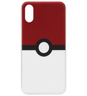 ADEL Siliconen Back Cover Softcase Hoesje voor iPhone XS/ X - Pokemon Pokeball