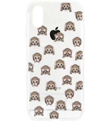 ADEL Siliconen Back Cover Softcase Hoesje voor iPhone XS/ X - Smileys Emoticons Apen