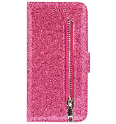 ADEL Kunstleren Book Case Portemonnee Pasjes Hoesje voor iPhone 11 - Bling Bling Roze