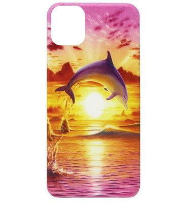 ADEL Siliconen Back Cover Softcase Hoesje voor iPhone 11 - Dolfijn Roze