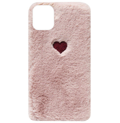 ADEL Siliconen Back Cover Softcase Hoesje voor iPhone 11 - Hartjes Fluffy Pluche Zachte Stof