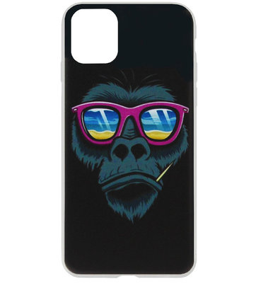 ADEL Siliconen Back Cover Softcase Hoesje voor iPhone 11 Pro Max - Apen Gorilla