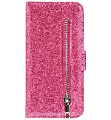 ADEL Kunstleren Book Case Portemonnee Pasjes Hoesje voor iPhone 11 Pro Max - Bling Bling Roze