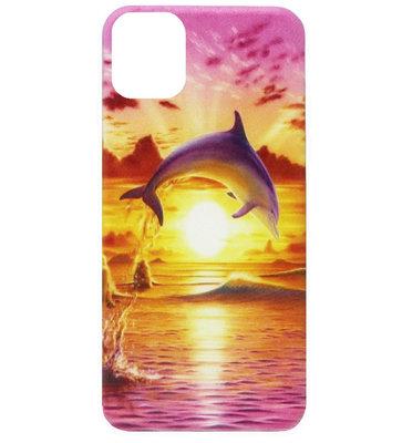 ADEL Siliconen Back Cover Softcase Hoesje voor iPhone 11 Pro Max - Dolfijn Roze