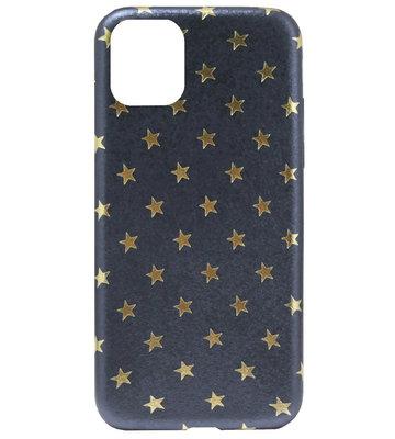 ADEL Siliconen Back Cover Softcase Hoesje voor iPhone 11 Pro Max - Gouden Sterren Blauw