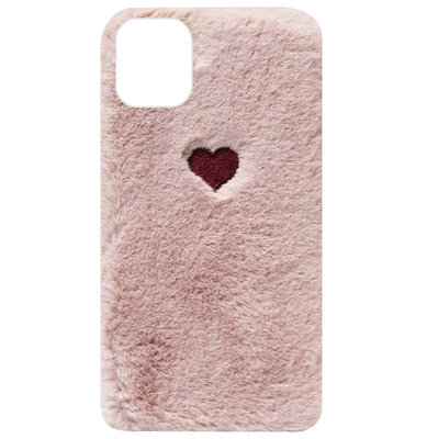 ADEL Siliconen Back Cover Softcase Hoesje voor iPhone 11 Pro Max - Hartjes Fluffy Pluche Zachte Stof