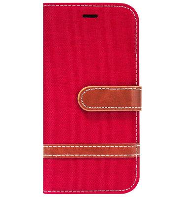 ADEL Kunstleren Book Case Portemonnee Pasjes Hoesje voor iPhone 11 Pro Max - Rood Stoffen Design