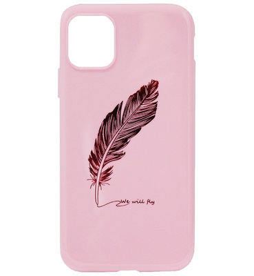 ADEL Siliconen Back Cover Softcase Hoesje voor iPhone 11 Pro - Bling Bling Glimmend Veren Roze