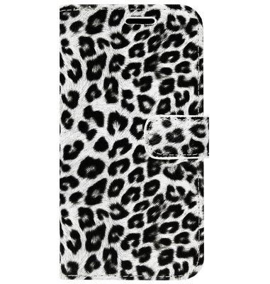 ADEL Kunstleren Book Case Portemonnee Pasjes Hoesje voor iPhone 11 - Luipaard Wit