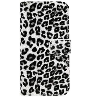 ADEL Kunstleren Book Case Portemonnee Pasjes Hoesje voor iPhone 11 Pro Max - Luipaard Wit