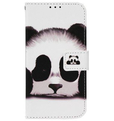 ADEL Kunstleren Book Case Portemonnee Pasjes Hoesje voor iPhone 11 - Panda Wit