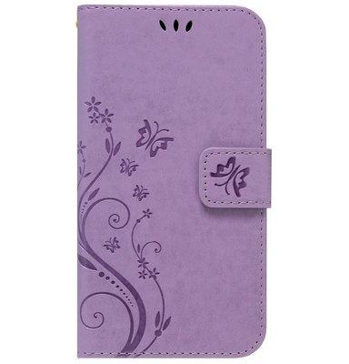 ADEL Kunstleren Book Case Portemonnee Pasjes Hoesje voor iPhone 11 - Vlinder Paars