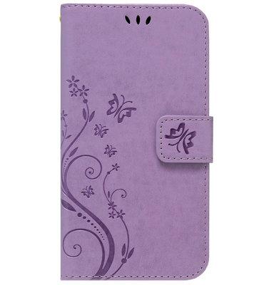 ADEL Kunstleren Book Case Portemonnee Pasjes Hoesje voor iPhone 11 Pro Max - Vlinder Paars