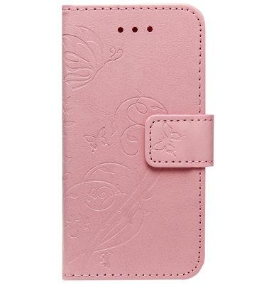 ADEL Kunstleren Book Case Portemonnee Pasjes Hoesje voor iPhone 11 Pro - Vlinder Roze