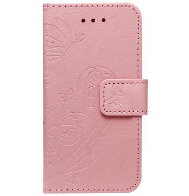 ADEL Kunstleren Book Case Portemonnee Pasjes Hoesje voor iPhone 11 - Vlinder Roze
