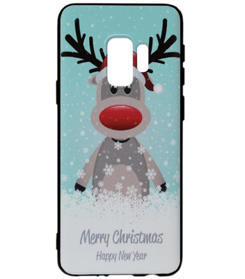 ADEL Siliconen Back Cover Softcase Hoesje voor Samsung Galaxy S9 - Kerstmis Rendier