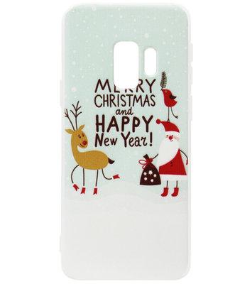 ADEL Siliconen Back Cover Softcase Hoesje voor Samsung Galaxy S9 Plus - Kerstmis Kerstman Rendier