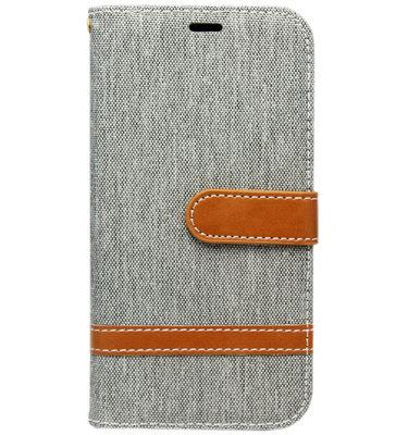 ADEL Kunstleren Book Case Portemonnee Pasjes Hoesje voor Samsung Galaxy S9 Plus - Stoffen Design Grijs