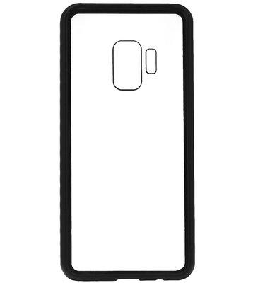 ADEL Magnetisch Kunststof Glas Back Cover Hardcase Hoesje voor Samsung Galaxy S9 Plus - Zwart