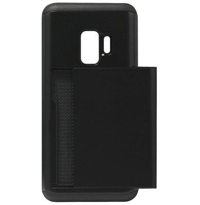 ADEL Kunststof Back Cover Hardcase Hoesje voor Samsung Galaxy S9 Plus - Pasjeshouder Zwart