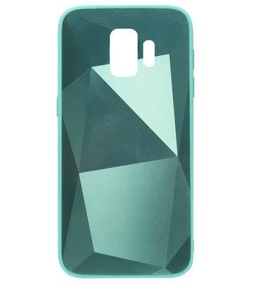 ADEL Siliconen Back Cover Softcase Hoesje voor Samsung Galaxy S9 Plus - Spiegel Diamanten Groen