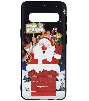ADEL Siliconen Back Cover Softcase Hoesje voor Samsung Galaxy S10 - Kerstmis Kerstman