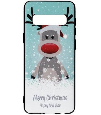 ADEL Siliconen Back Cover Softcase Hoesje voor Samsung Galaxy S10 - Kerstmis Rendier