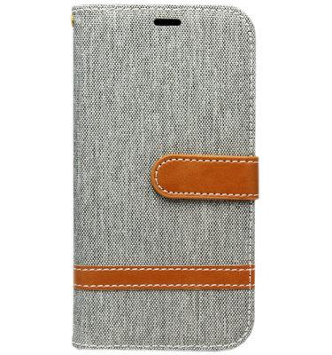 ADEL Kunstleren Book Case Portemonnee Pasjes Hoesje voor Samsung Galaxy S10 - Stoffen Design Grijs