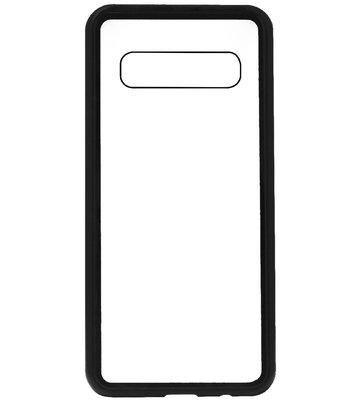 ADEL Magnetisch Kunststof Glas Back Cover Hardcase Hoesje voor Samsung Galaxy S10 - Zwart