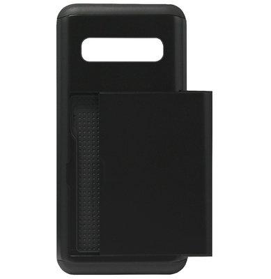 ADEL Kunststof Back Cover Hardcase Hoesje voor Samsung Galaxy S10 - Pasjeshouder Zwart