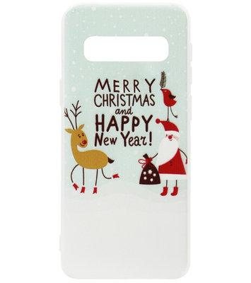 ADEL Siliconen Back Cover Softcase Hoesje voor Samsung Galaxy S10e - Kerstmis Kerstman Rendier