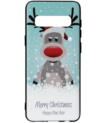 ADEL Siliconen Back Cover Softcase Hoesje voor Samsung Galaxy S10e - Kerstmis Rendier