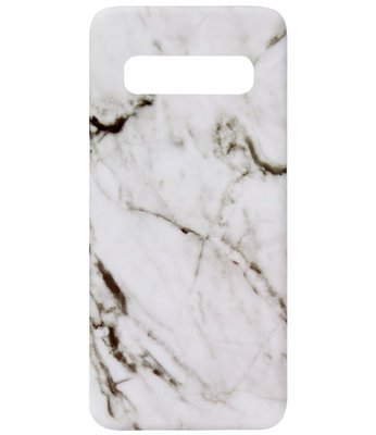 ADEL Kunststof Back Cover Hardcase Hoesje voor Samsung Galaxy S10e - Marmer Wit