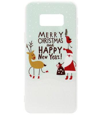 ADEL Siliconen Back Cover Softcase Hoesje voor Samsung Galaxy S8 Plus - Kerstmis Kerstman Rendier