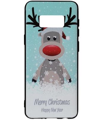 ADEL Siliconen Back Cover Softcase Hoesje voor Samsung Galaxy S8 Plus - Kerstmis Rendier