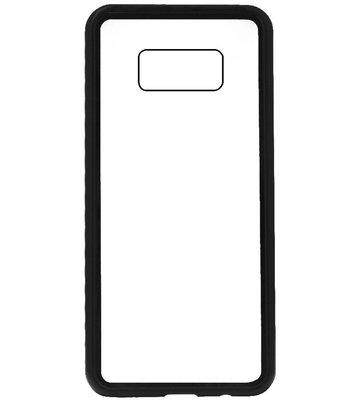 ADEL Magnetisch Kunststof Glas Back Cover Hardcase Hoesje voor Samsung Galaxy S8 Plus - Zwart
